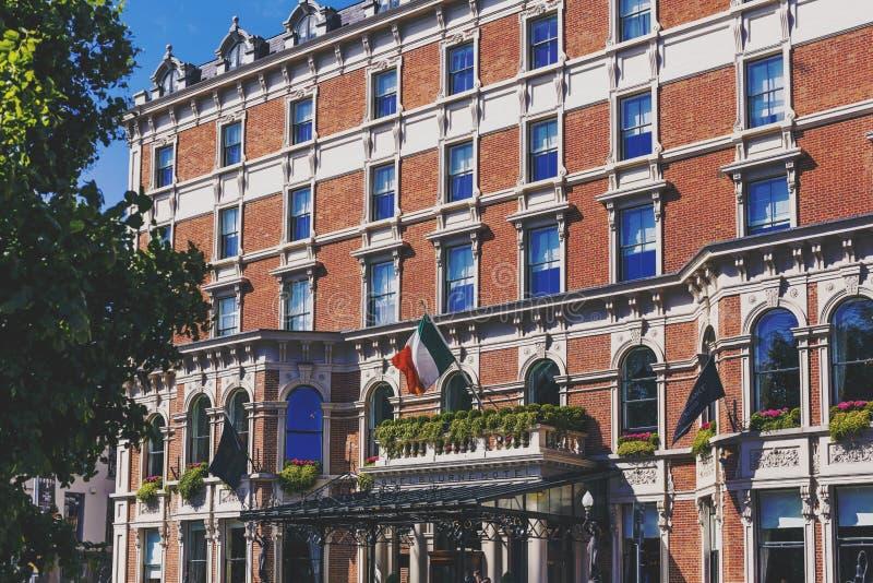 Shelbourne hotel w Dublin i swój pięknej architekturze obraz stock