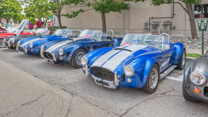 Shelby AC kobry samochody przy Woodward sen Pływają statkiem fotografia royalty free