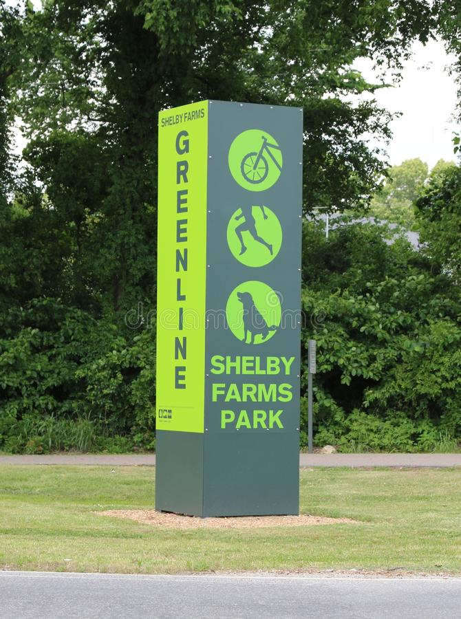 Shelby Farms Park Greenline Sign, Memphis Tennessee stock fotografie