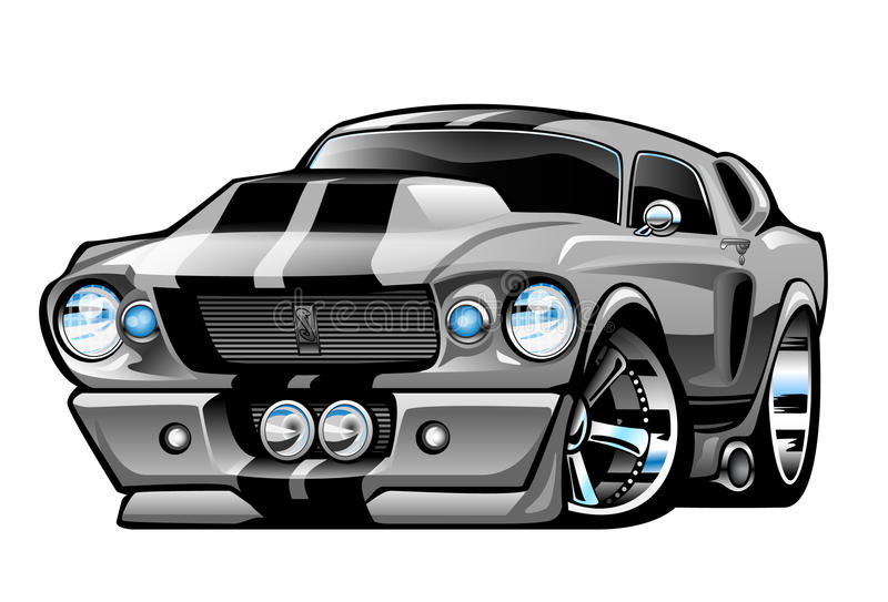Classic American Muscle Car Cartoon Illustration stock illustration