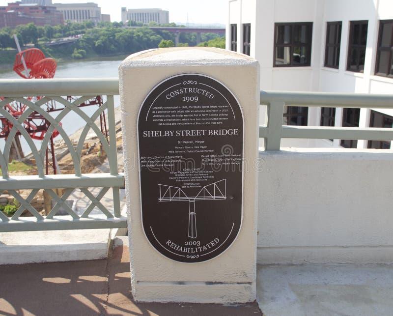 The Shelby Street Bridge Marker in Downtown Nashville. stock photos