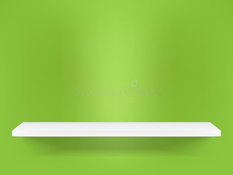 Shelf. White shelf on the green wall vector illustration