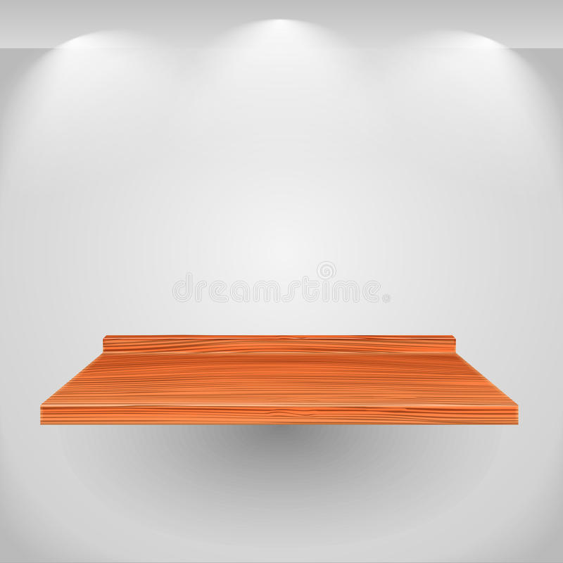 Shelf. Wooden shelf on gray wall royalty free illustration