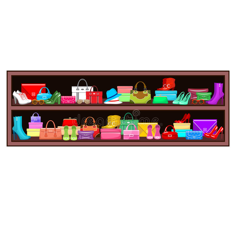 Shelf with bags and shoes. stock illustration