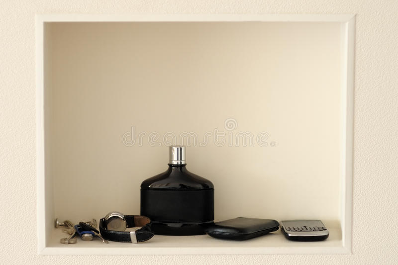 Download Shelf in a beige wall stock image. Image of indoors, arrangement - 21064121