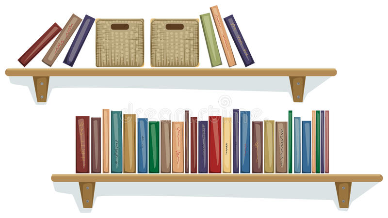 Shelf with books. And boxes on them vector illustration