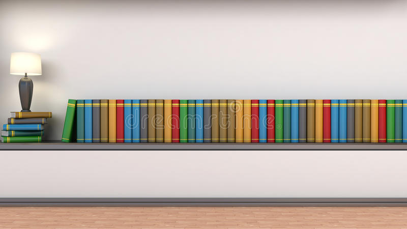 Shelf with books and lamp.  royalty free illustration