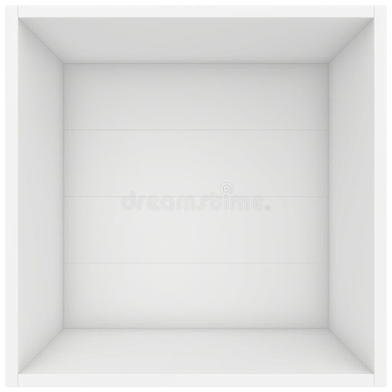 Shelf box. 3d render on white background. White shelf box. 3d render on white background royalty free illustration