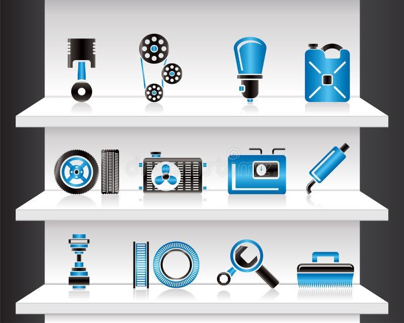 Shelf with Car Parts stock illustration