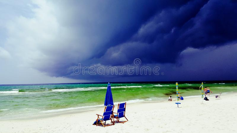 Shelf Clouds. Form as a storm approaches in Panama City Beach, FL royalty free stock photography