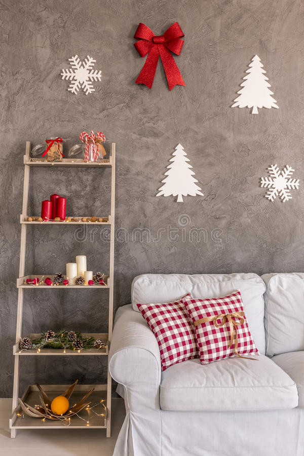 Shelf with decorations royalty free stock image