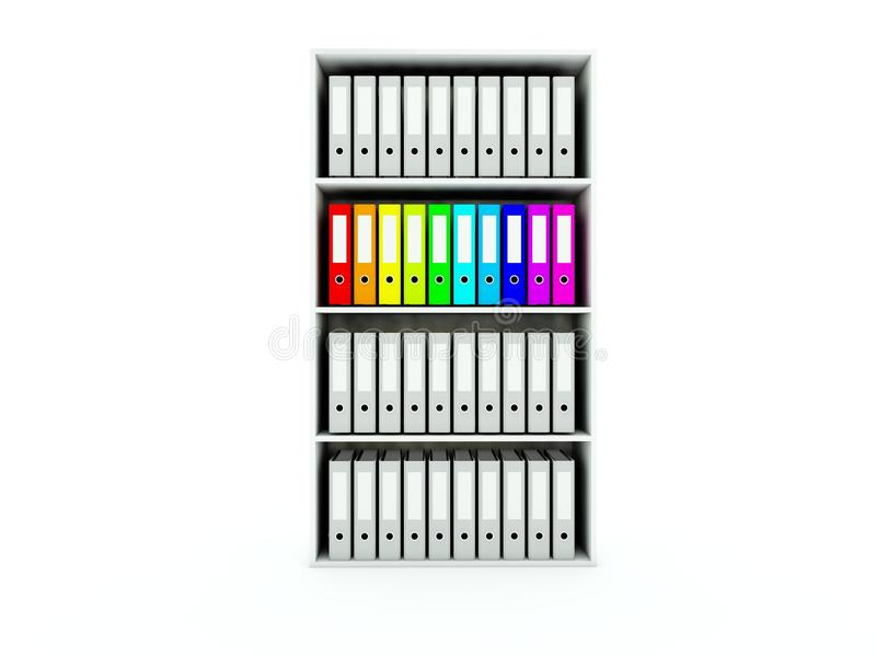 Shelf with folders royalty free illustration