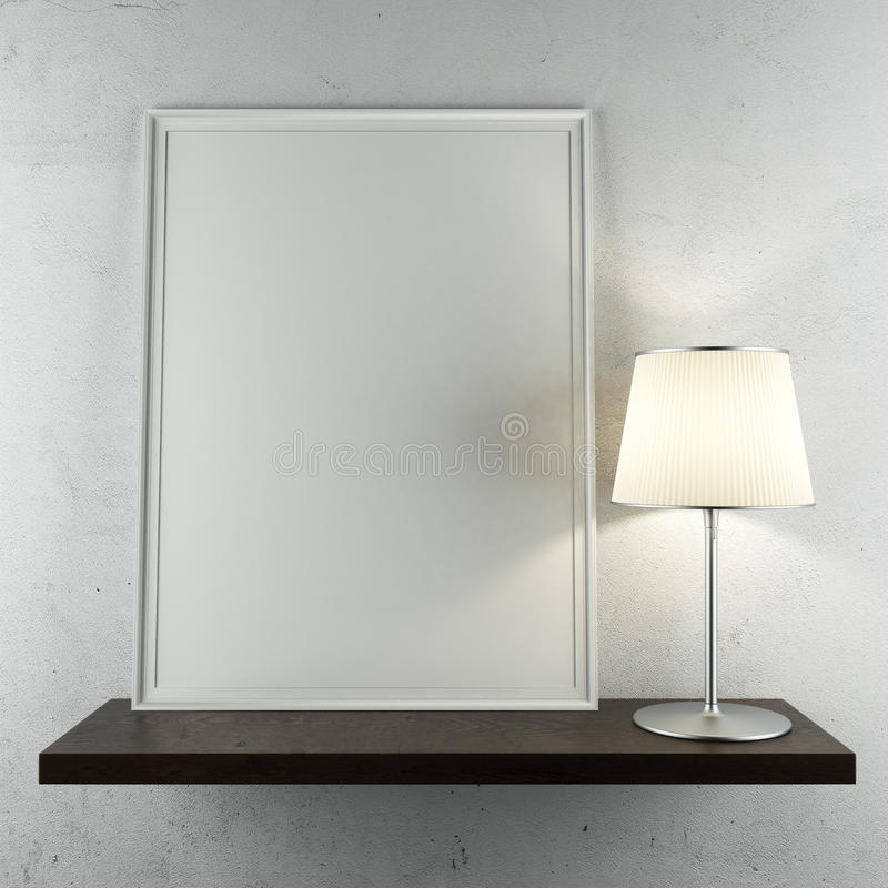 Shelf with frame and lamp. On the white wall vector illustration