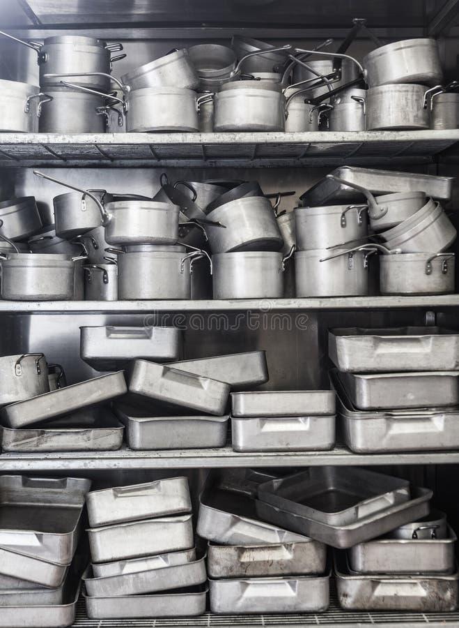 Shelf full of pots royalty free stock photography
