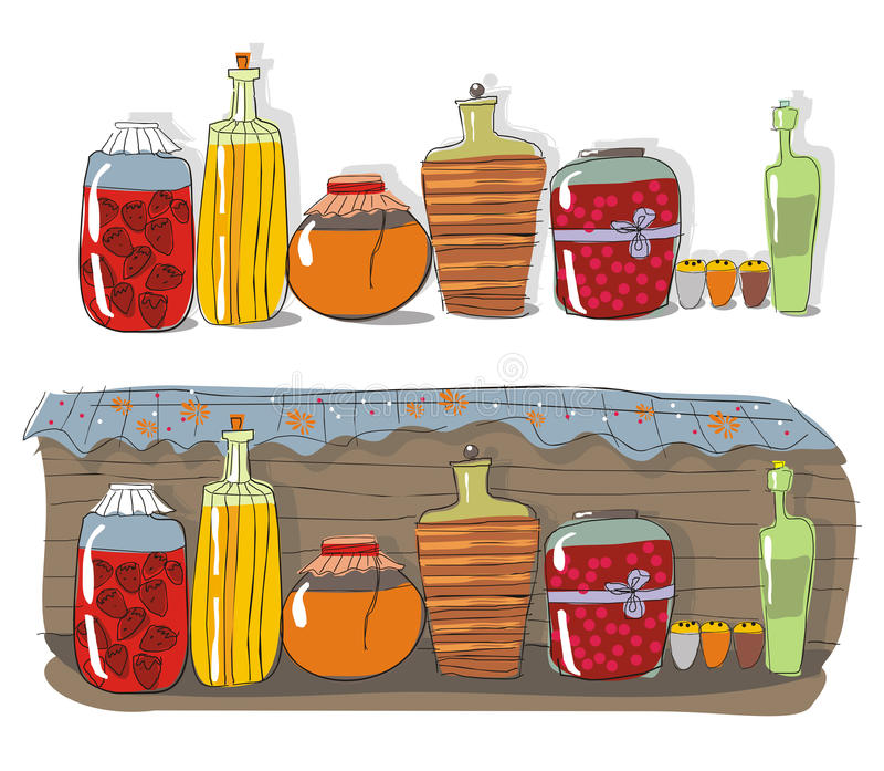 Shelf with homemade jam. And spices royalty free illustration