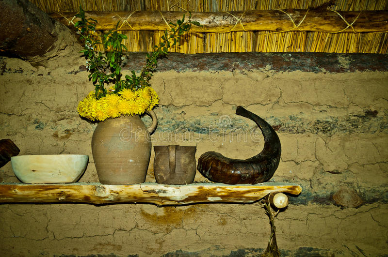 Shelf in hut stock images