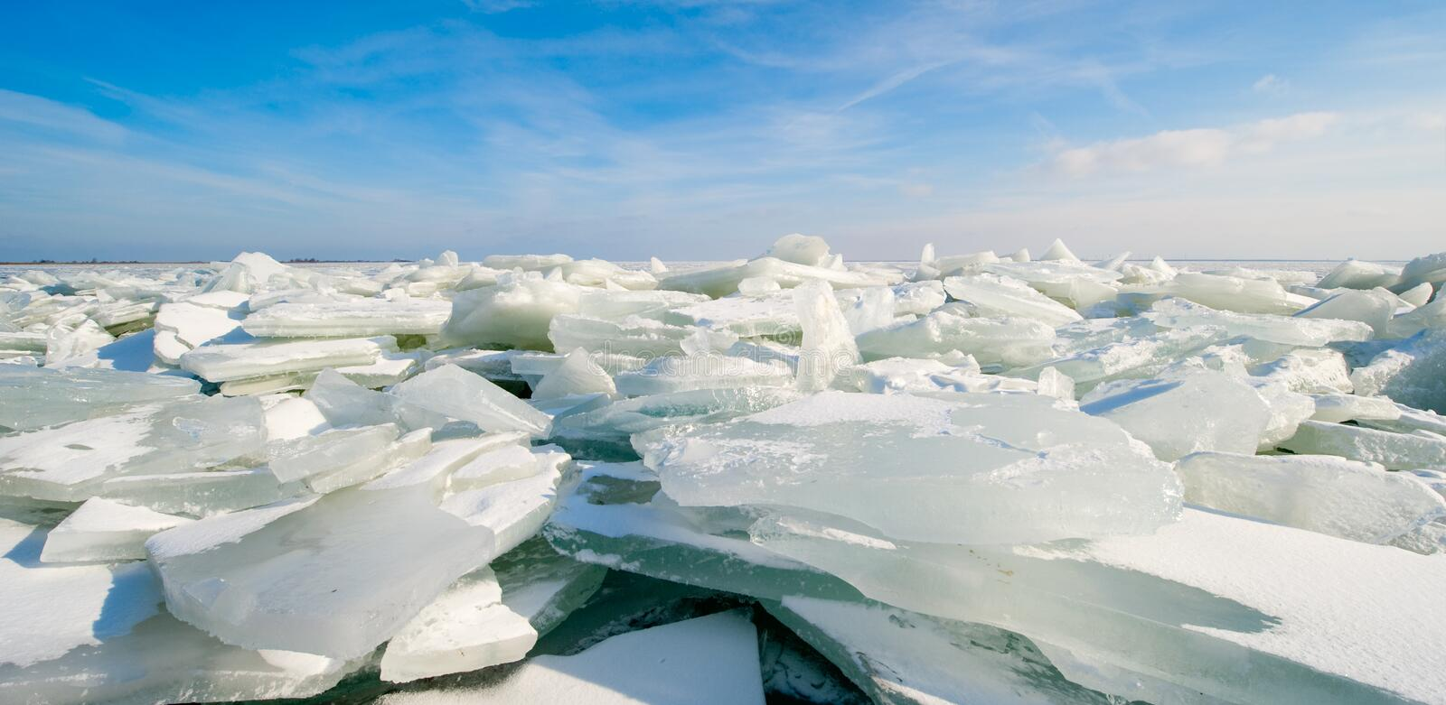 Shelf ice in Marken. A small village near Amsterdam The Netherlands royalty free stock photography