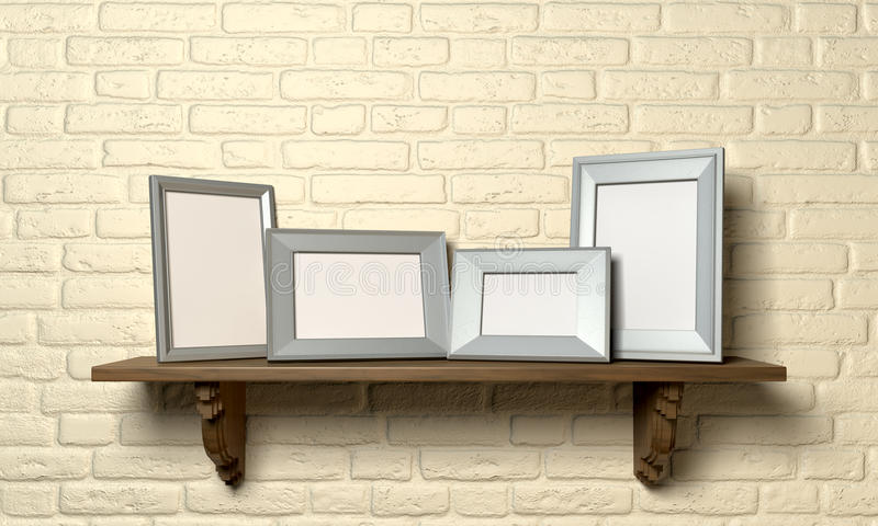Shelf With Picture Frames Front Stock Image - Image of indoors ...