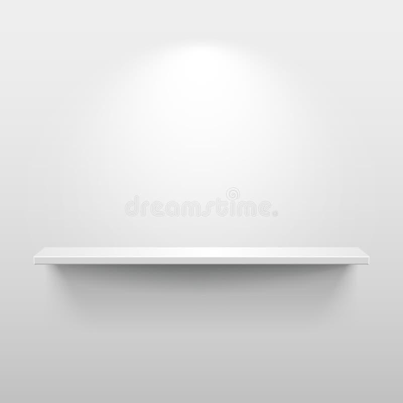 Shelf with shadow in empty white room. Shelf with light and shadow in empty white room stock illustration