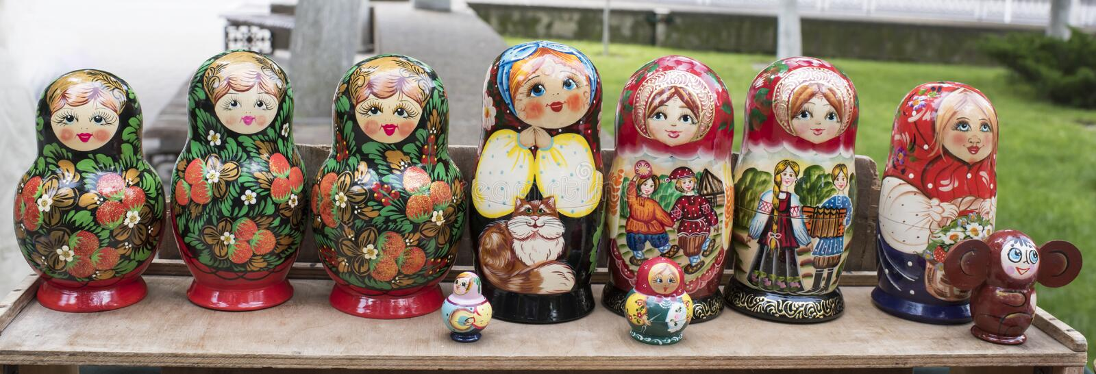 Shelf store wooden souvenirs - matryoshka dolls royalty free stock photo