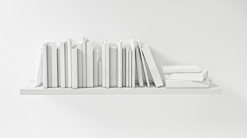 Shelf with White Book on the White Wall, Concept, Render. 3d illustration royalty free illustration
