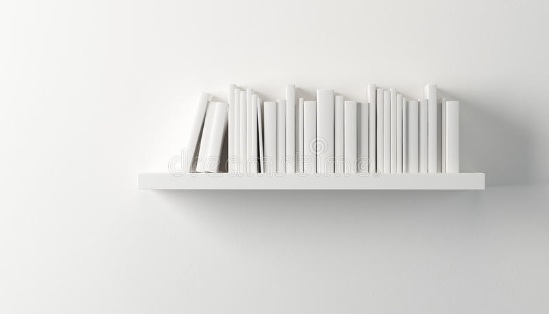 Shelf with white books stock illustration