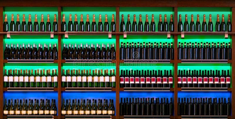 Shelf with wine bottles