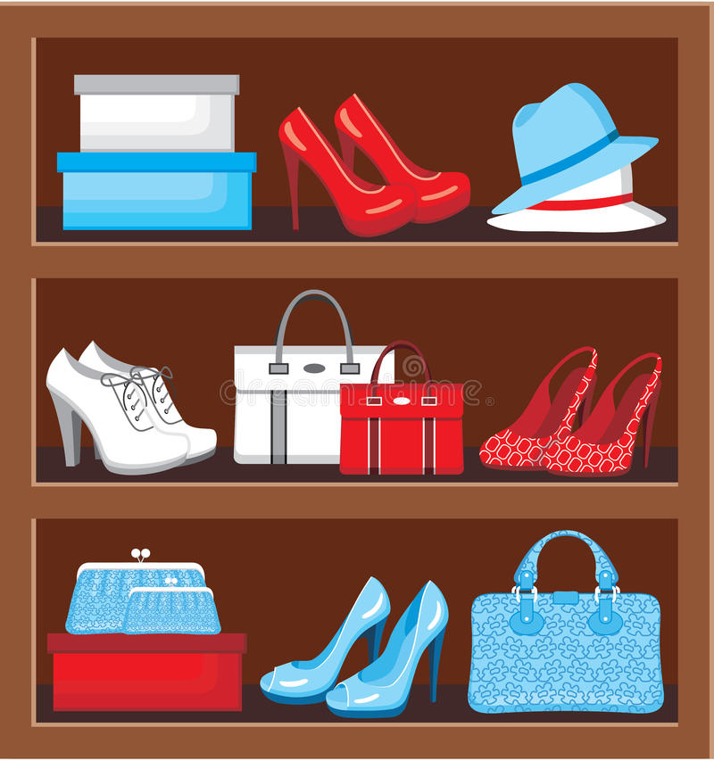 Free Shelf With Bags And Shoes. Stock Photos - 36444583