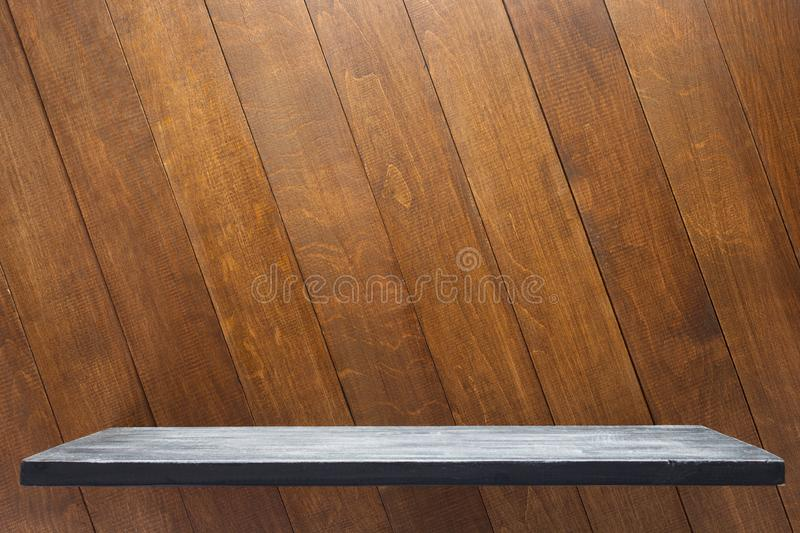 Shelf at wooden board background. Texture surface stock images