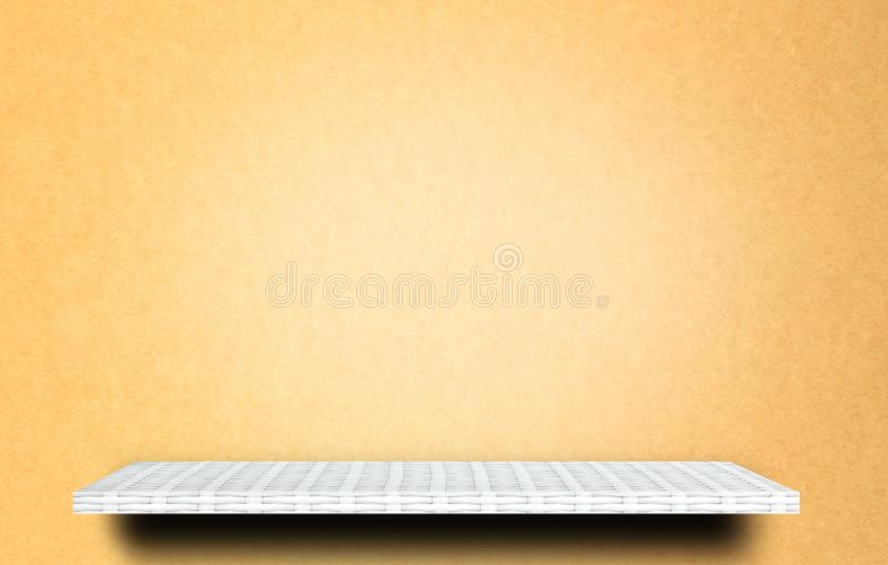 Shelf on yellow background for product display. White shelf on yellow background for product display stock photography