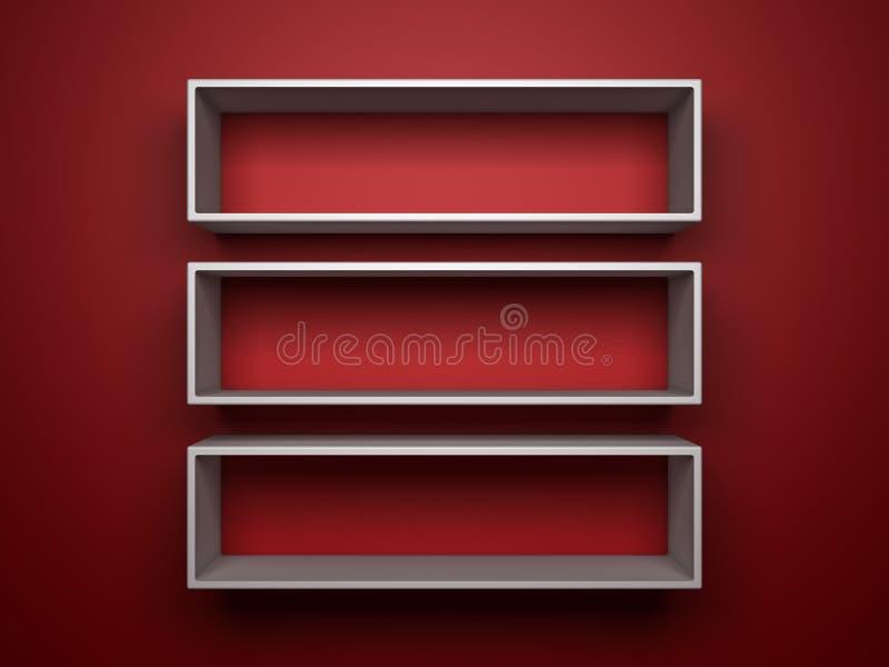 Shelfs blancos en fondo rojo stock de ilustración