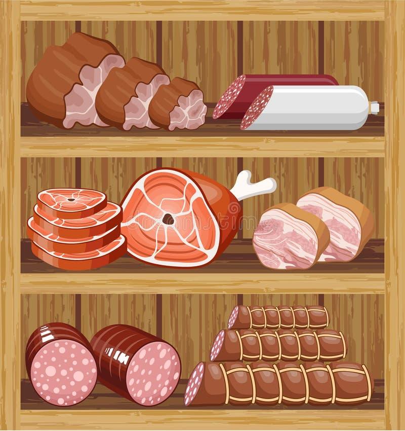 Shelfs z mięsnymi produktami. ilustracja wektor