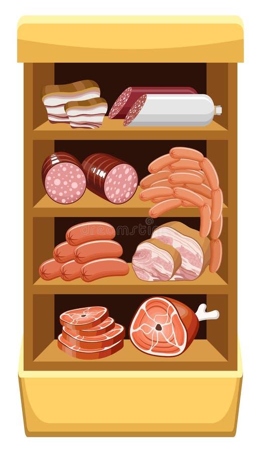 Shelfs z mięsnymi produktami. royalty ilustracja