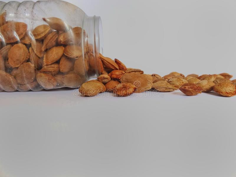 Shell almonds in plastic jar. Shells of almonds fall off from the plastic jar. Half of shell almonds are inside the jar and half of almonds are outside of the stock photos