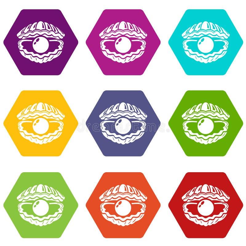 Shell avec des icônes de perle a placé le vecteur 9 illustration de vecteur