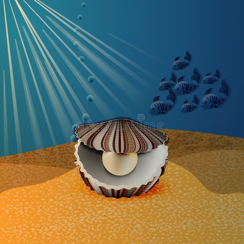 Shell avec des perles illustration de vecteur