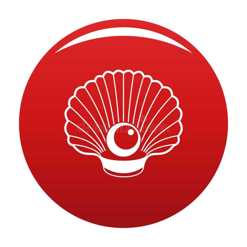 Shell avec le rouge de vecteur d'icône de perle illustration de vecteur