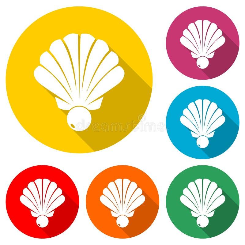 Shell avec une icône de perle ou un logo, ensemble de couleur avec la longue ombre illustration stock