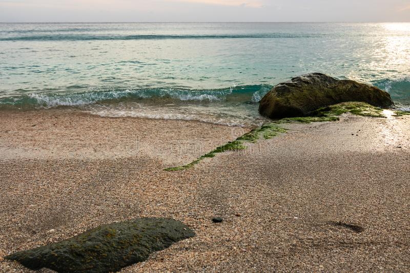Shell Beach famosa, nell'isola i Caraibi di St Bart dell'isola della st Barth fotografie stock libere da diritti