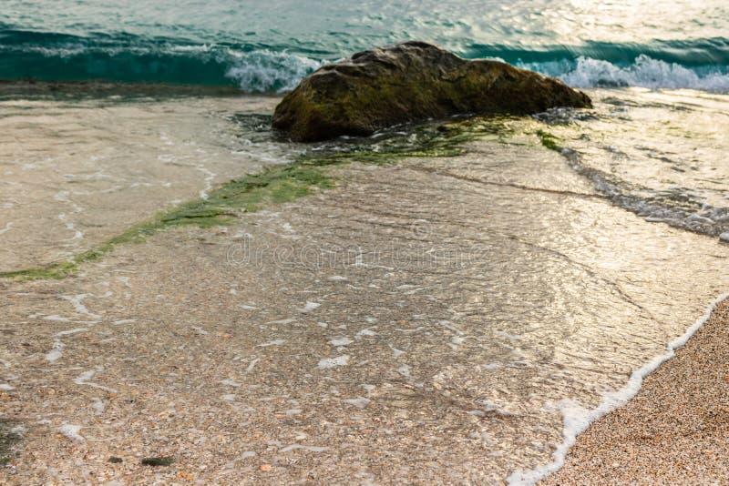 Shell Beach famosa, nell'isola i Caraibi di St Bart dell'isola della st Barth immagine stock libera da diritti
