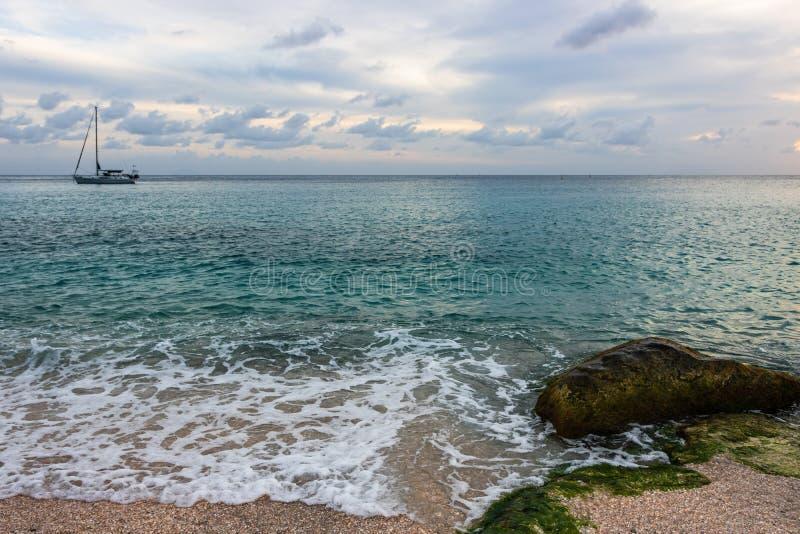 Shell Beach famosa, nell'isola i Caraibi di St Bart dell'isola della st Barth fotografia stock