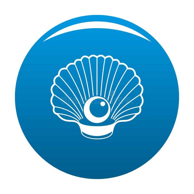Shell con il blu dell'icona della perla illustrazione di stock