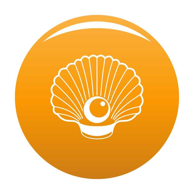 Shell con l'arancia dell'icona della perla illustrazione vettoriale