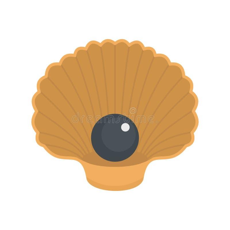 Shell con l'icona della perla, stile piano illustrazione di stock
