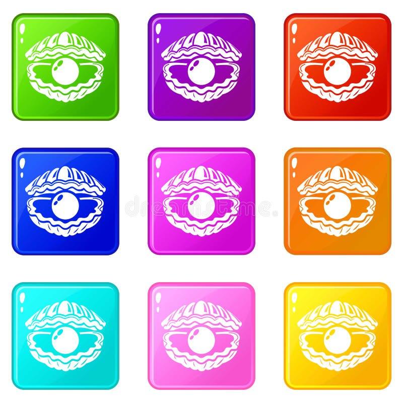 Shell con le icone della perla ha messo una raccolta di 9 colori illustrazione di stock