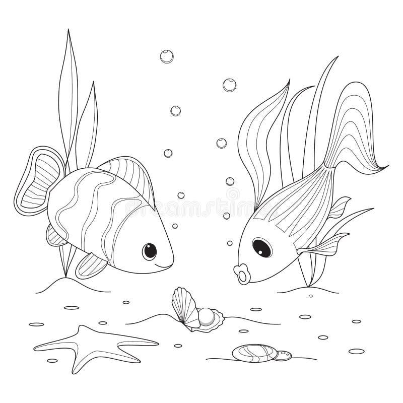 Shell con una perla, nuoto del pesce intorno, stelle marine illustrazione di stock