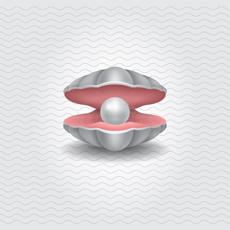 Shell con una perla, oggetto realistico di vettore illustrazione vettoriale