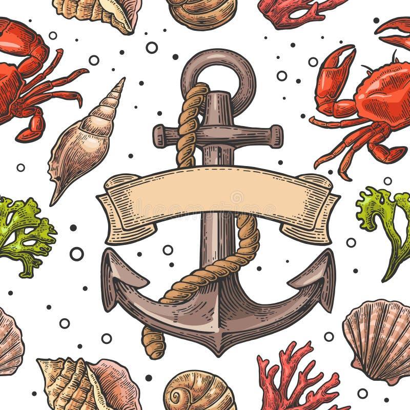 Shell, coral, caranguejo e âncora sem emenda do mar do teste padrão com fita ilustração stock