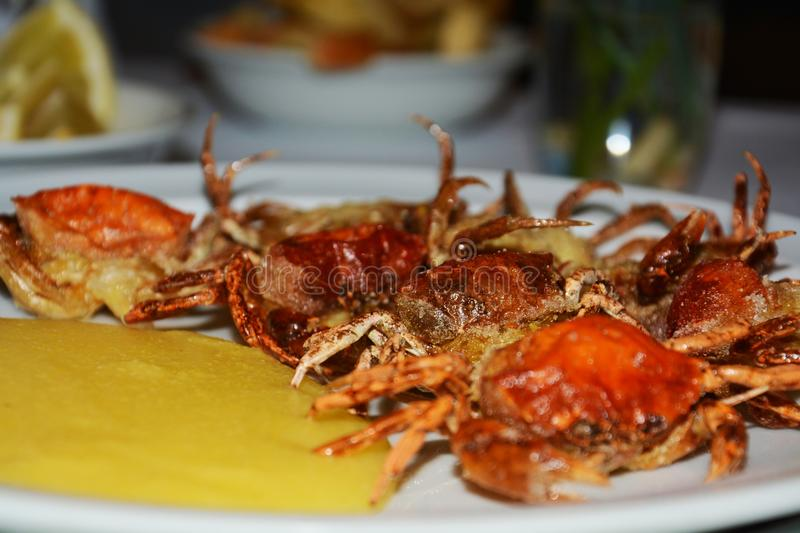 Shell crabs and cornmeal mush, background. Orange shell crabs, traditional fish dish and yellow cornmeal mush on white plate, close up stock image