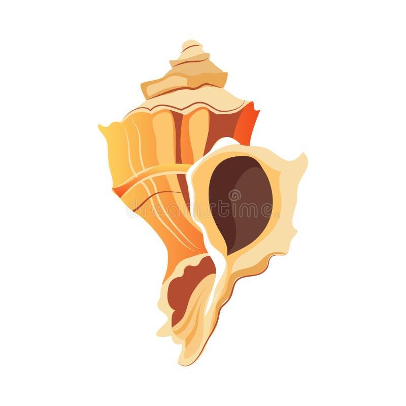 Shell de Rapana Um shell vazio de um molusco do mar Ilustração colorida dos desenhos animados ilustração royalty free